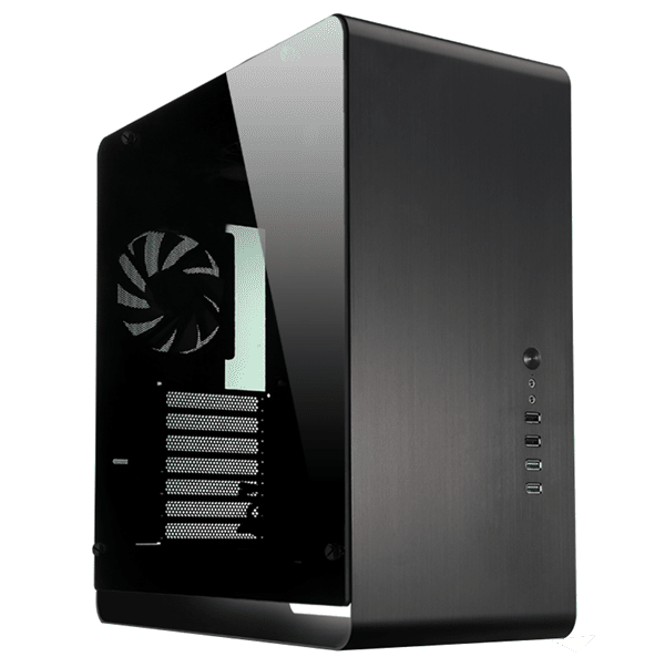 Black tempered glass large panel ATX aluminium computer caseの画像