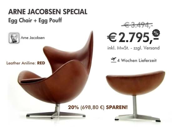 Arne Jacobsen Egg Chair + Fusshocker - THE SPECIALの画像