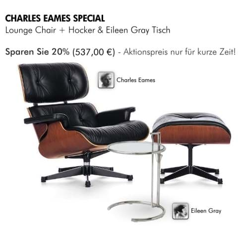 Picture of Charles Eames Lounge Chair & Ottoman + Adjustable Table by Eileen Gray - THE SPECIAL