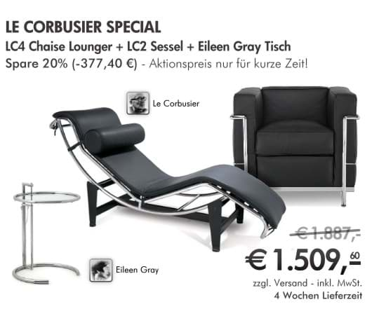 Afbeelding van Le Corbusier LC2 + LC4 Chaiselongue + Adjustable Table by Eileen Green - THE SPECIAL
