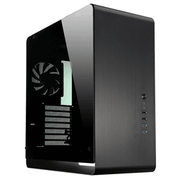 صورة Black tempered glass large panel ATX aluminium computer case